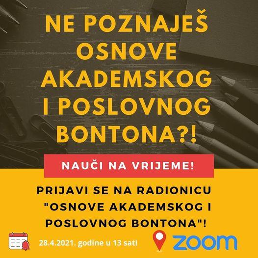 """Online radionica """"Osnove akademskog i poslovnog bontona"""""""