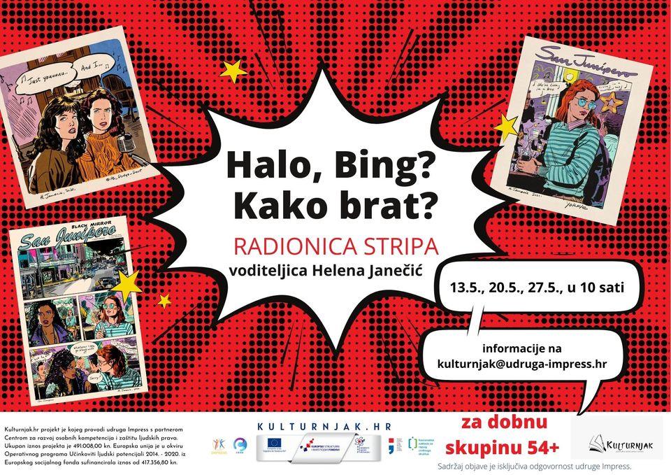 Online radionica stripa – Halo, Bing? Kako brat?