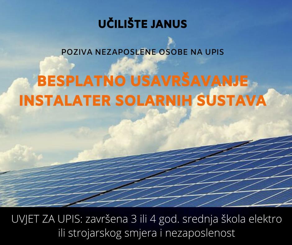 Besplatna edukacija - Instalater solarnih sustava